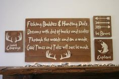 Fishing Buddies & Hunting Pals! Beautiful rustic piece for the hunting nursery. This listing is for one pallet wood sign that comes in either