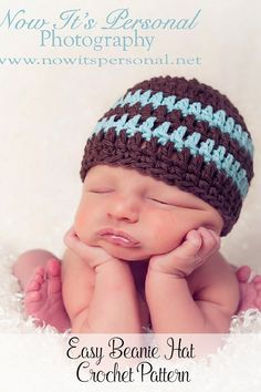 Crochet Pattern - An easy crochet hat pattern that is perfect for beginners! This simple beanie is perfect for all ages and genders. Includes directions for all sizes from baby to adults. By Posh Patterns.