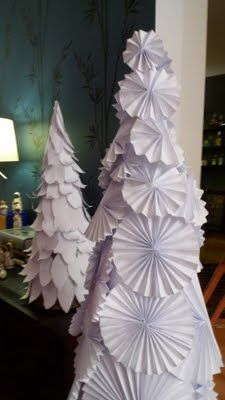 paper christmas trees...this would be cute with music paper