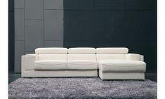 Sofá chaise longue a la derecha reclinable en piel natural espesorada