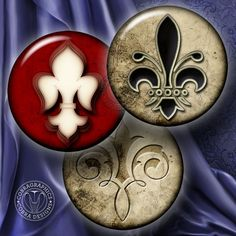"Fleur de Lis Digital Collage Sheets Printable Downloadable Craft Supplies for Bottle Caps, Jewelry 1.5"", 1.25"", 30mm, 1"", 25mm circles CG-354"