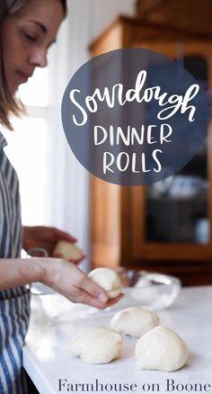 sourdough dinner roll recipe // easy sourdough recipes // sourdough rolls // handmade home // farmhouse on boone Sourdough Dinner Rolls, Dinner Rolls Recipe, Roll Recipe, Healthy Bread Recipes, Real Food Recipes, Cooking Recipes, Cooking Stuff, Protein Recipes, Vegetarian Recipes