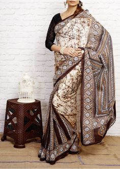 Bistre Brown Kantha Stitch Pure Bangalore Silk Handloom Saree