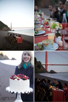 My new favorite thing.  Pop Up Dinner Parties.  I really want to have one  Wish I lived in San Francisco so I could have one on the beach like this.  A gorgeous sunset, delicious food and a view of the Golden Gate.  Perfection!!!