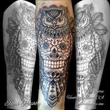 sugar skull tattoo black and white owl - Google Search