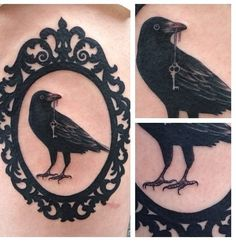framed raven tattoo with a diamond earring as it's eye