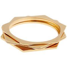 Rachel Zoe Hexagon Bangle Set ($50) ❤ liked on Polyvore featuring jewelry, bracelets, gold, hexagon jewelry, rachel zoe jewelry, rachel zoe and gold tone jewelry