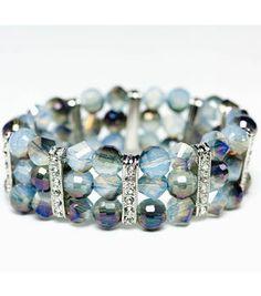 Chalcedony Blue Mirror Bead Stretch Bracelet