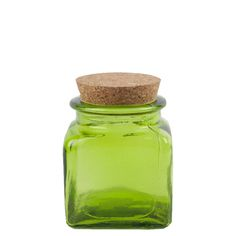 Grehom Recycled Glass Jar- Green; Cork Lid