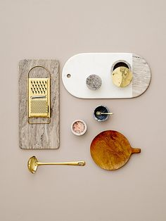 Marble, gold and teak kitchen essentials - design by Bloomingville