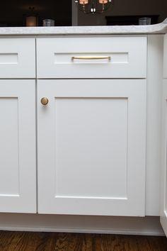 Emtek, Brass Orbit Pull and Newport Knob in Satin Brass Property Brothers Designs, Cabinet Hardware, Newport, Knob, Home Kitchens, Kitchen Remodel, Kitchen Cabinets, Satin, Brass