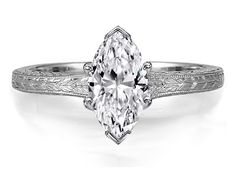 Engagement Ring -Marquise Diamond Solitaire Wheat Engraved Engagement Ring in 14K White Gold-ES1186MQWG