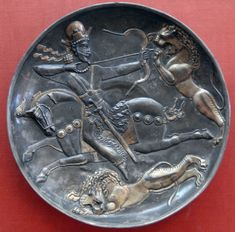 Sassanid Plate of the King hunting lions. Hermitage Museum