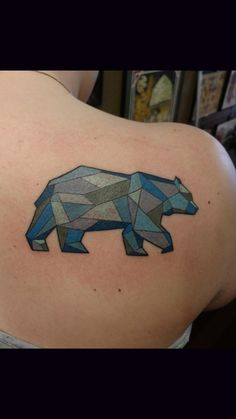 Geometric Bear done by Reese Farness at Ironworks, Portsmouth NH