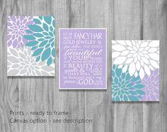Beauty 1 Peter 3 3-4 Lavender Turquoise Aqua Purple Wall Art Set Scripture Girls Nursery Flower Prints Baby Shower Gift Decor CUSTOM COLORS