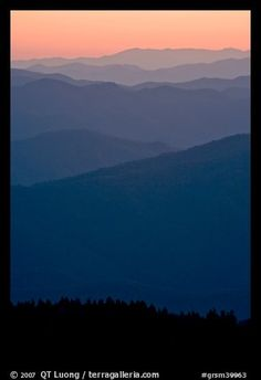 Mountain ridges seen seen from Clingman Dome and sunrise glow, North Carolina. Great Smoky Mountains National Park