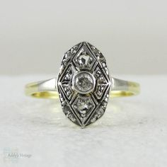 Art Deco Navette Shaped Old Mine Cut Diamond Ring with by Addy