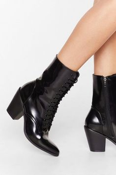 Together At Last Patent Lace-Up Boots High Heel Boots, Black Ankle Boots, Lace Up Boots, Heeled Boots, High Heels, Boot Shop, Nasty Gal, Wedge Heels, Block Heels