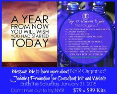 READY TO TRY ORGANIC PRODUCTS? 3 days left to take advance of our January Consultant Kit and Website promotion.  2 Kits Available until this Saturday, January 31, 2015. Only $79.00 or $99.00 both kits include a FREE WEBSITE to share and market your new NYR Organic Virtual Store On-line!  Check it out and message me with any questions! Beth Camille Byram  https://us.nyrorganic.com/shop/face2face/area/become-a-consultant/  Share with a friend~