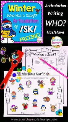 FREE Winter speech and language activity. Practice articulation of /sk/, who has? questions and writing too. http://www.speechsproutstherapy.com