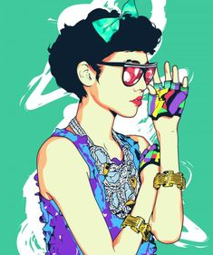 Love colors & style. This illustration via Jejomar Limbo seems to be japanese old school fashion