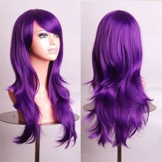 Women's Cosplay Curly Wigs With Bangs Long Curly Hair Fluffy Curly Hair cm) Big Wavy Hair, Full Hair, Straight Hair, Thick Hair, Long Hair Wigs, Curly Wigs, Cheap Cosplay Wigs, Purple Wig, Dark Purple