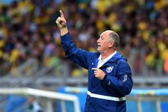 Head coach Luiz Felipe Scolari of Brazil gestures during the 2014 FIFA World Cup Brazil Semi Final match between Brazil and Germany at Estadio Mineirao on July 8, 2014 in Belo Horizonte, Brazil.