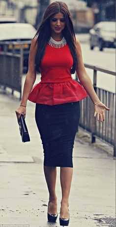 Midi pencil skirt and peplum top. Winning! This looks like the perfect outfit! Sold!
