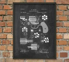 Revolver Patent Wall Art Poster 2 by QuantumPrints on Etsy
