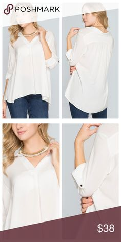 Ivory Rolled Sleeve Top Ivory top has a collared v opening in front and full length sleeves that roll and fasten. Fabric is light weight, not sheer but light enough that a cami would be needed. EVIEcarche Tops