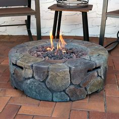 Sunnydaze Cast Stone Propane Gas Fire Pit with Lava Rocks, Outdoor Patio and Backyard Fireplace, 30 Inch, Light Grey Small Fire Pit, Round Fire Pit, Modern Fire Pit, Propane Fire Pit Table, Gas Fire Table, Garden Fire Pit, Fire Pit Backyard, Backyard Fireplace, Fireplace Glass