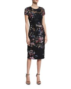 1ae50fe9a7be Short-Sleeve Floral Embroidered Sheath Dress