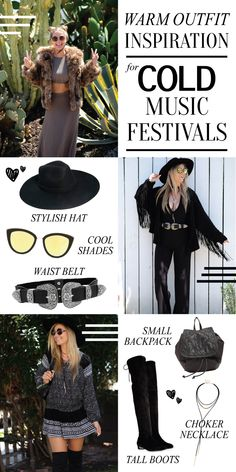 When you think of music festival style, your outfit inspiration is usually flower crowns, high-waisted shorts, mirrored sunglasses, and crop tops galore. But what about music festivals in the fall and winter months, or colder areas in general? Here's my warm outfit inspiration for colder music festivals!