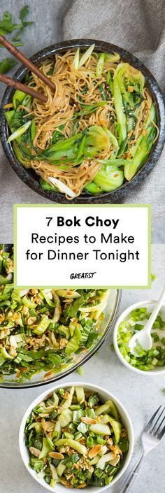 7 Bok Choy Recipes That Prove It Should Be the Next Trendy Green Veg - Bok Choy recipes to make for dinner tonight Seafood Recipes, Soup Recipes, Vegetarian Recipes, Cooking Recipes, Healthy Recipes, Drink Recipes, Vegetable Dishes, Vegetable Recipes, Veggies