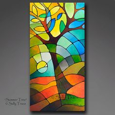 Abstract acrylic original painting with deep textures and a stained glass appearance. Summer Tree on stretched canvas with sides painted black. 36 inches high, 18 inches wide, 3/4 inches deep. Finished with gloss varnish. You may hang it as is or frame if you like.  A signed certificate of authenticity is provided, painting is signed on the front, signed and titled on the back, wired and ready to hang.  © Sally Trace, all rights reserved.  More in my Etsy Shop: https://www.etsy...