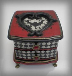 OOAK Gothic Style Halloween Musical Keepsake Box - Plays Sally's Song from Nightmare Before Christmas