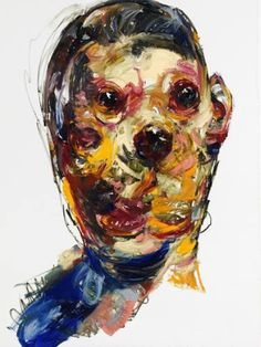 Original Painting measuring 102.4 x 74.8 x 2 in by Jaeyeol Han. Styles: Expressionism, Abstract Expressionism, Portraiture. Subject: People. Keywords: Savagery, Passersby, sentiment, extrusion, stranger, tension, vernacular, Korean, jaeyeolhan, Veracious, face.