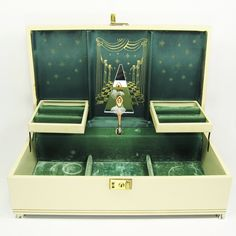 antique ballerina jewelry box | Vintage Cream and Antique Gold Ballerina Musical Jewelry Box - 70s