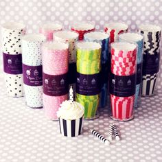 dots and stripes paper baking cups