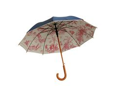 Umbrella lined with toile de jouy fabric