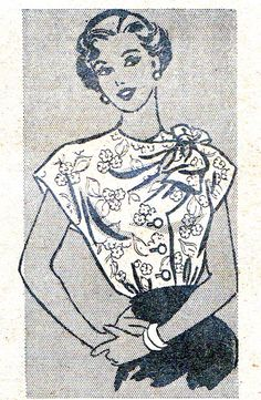 1940s Marian Martin 9093 blouse with front buttons and bow on the shoulder. This would be easy to draft.