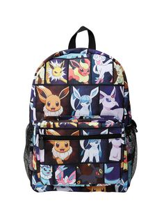"<p>Canvas backpack from <i>Pokemon</i> featuring an Eevee Evolution characters print design. Features padded back, padded adjustable straps, front zipper pocket, zipper closure and web haul loop.</p>  <ul> 	<li>12"" x 17""</li> 	<li>100% polyester</li> 	<li>Imported</li> </ul>"