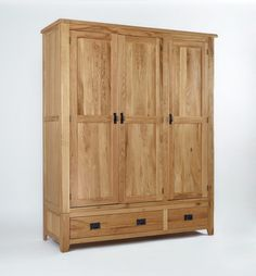 The Westbury Reclaimed Oak Triple Wardrobe has more than enough room to store a year's worth of style making it perfect for those among us with a healthy shopping habit. This impressive wardrobe has a double all hanging section on one side and a Wood Drawers, Small Drawers, Teak Furniture, Quality Furniture, Bedroom Furniture, Triple Wardrobe, Oak Wardrobe, Japanese Bed, White Stool