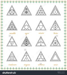 Set of geometric shapes. Geometric drawing, triangle design. Trendy hipster gold icons and logotypes. Religion, philosophy, spirituality, occultism symbols collection.