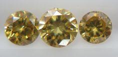 0.24cts 3pc Natural Loose Brilliant Cut Diamond VS Clarity Greenish Yellow Color #Handmade
