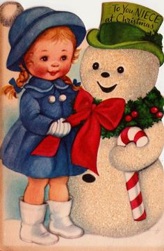 To You Niece At Christmas Little Girl and Snowman Vintage Greetings Card via Etsy. Vintage Christmas Images, Retro Christmas, Vintage Holiday, Christmas Pictures, Christmas Art, Vintage Greeting Cards, Christmas Greeting Cards, Christmas Greetings, Vintage Postcards