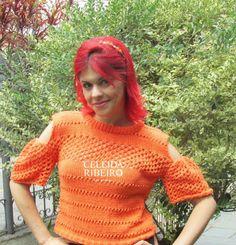 Celeida Ribeiro: Cropped em tricô feito a mão!