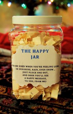 The Happy Jar. A homemade jar of individual sentiments on paper designed to chee. The Happy Jar. A homemade jar of individual sentiments on paper designed to cheer up a faraway love Diy Gifts For Your Best Friend, Best Friend Presents, Birthday Surprise Ideas For Best Friend, Birthday Present Ideas For Best Friend, Cute Best Friend Gifts, Homemade Gifts For Friends, Birthday Present Diy, Birthday Diy, Friend Gift Diy