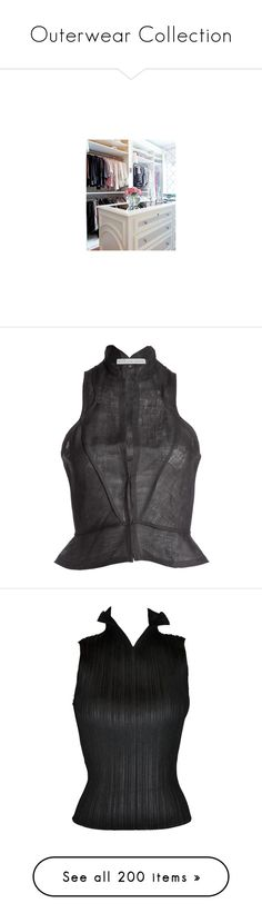 """Outerwear Collection"" by simpsonizer0718 ❤ liked on Polyvore featuring pictures, outerwear, vests, tops, shirts, black, racerback vest, lapel vest, gothic waistcoat and gothic vest"