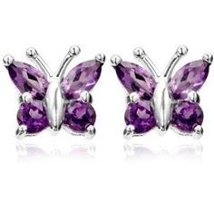 Round and marquise-shaped amethyst stones form bright butterfly wings in these charming sterling silver stud earrings. The stones are held securely in prong set Amethyst Jewelry, Amethyst Earrings, Sterling Silver Earrings Studs, Silver Jewelry, Fine Jewelry, Amethyst Stone, Girls Earrings, Stud Earrings, Jewelry King